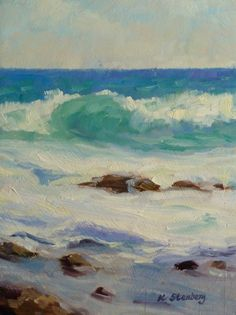 Kauai Waves Original Oil Painting Ocean Blue Hawaii Tropical Seascape Vacation Seafoam Sky. $100.00, via Etsy.