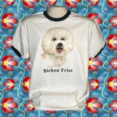 Bichon+Frise+Dog+Cotton+Short+sleeve+Ringer+T-shirt