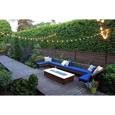 Outdoor patio string lights can be purchased at an affordable price. Most of patio string lights have the same basic design but it is in the coverings that they differ. Backyard Seating, Small Backyard Landscaping, Backyard Fences, Landscaping Ideas, Garden Fences, Modern Landscaping, Backyard Designs, Backyard Cafe, Outdoor Seating