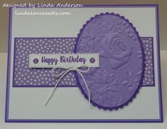 I think many of you know purple is NOT my favorite color.and yes, I hear many of you gasping in disbelief! Mind you, I'll use it but it'. Homemade Greeting Cards, Homemade Cards, Handmade Birthday Cards, Happy Birthday Cards, Cas Christmas Cards, Stampin Up Karten, Purple Cards, Purple Birthday, Embossed Cards