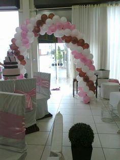 Arco de Balões - Rosa/ Branco/ Marrom
