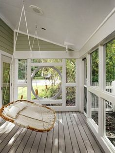 Screened in Porch with a sleeper swing