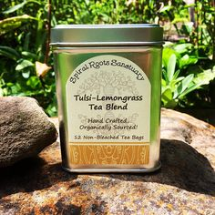 """Holy Basil, aka Tulsi, has long been revered in India for its energetic properties of balancing Mind, Body & Soul.  Lemongrass is an aromatic herb traditionally drank in Asia after meals to aid digestion.  Ingredients: Tulsi """"Holy Basil"""", & Lemongrass in 12 individually bagged unbleached tea bags."""