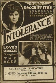 """Intolerance: Love's Struggle Throughout the Ages"" directed by D. W. Griffith, starring Lillian Gish / highest grossing film in 1916"
