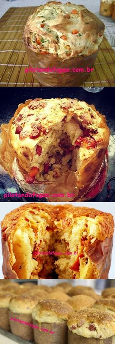 Panetone Salgado #natal #panetone #salgado #delicia #pilotandofogão Mini Cheesecakes, Portuguese Recipes, Canapes, Bread Baking, Junk Food, Baked Goods, Bread Recipes, French Toast, Sweet Tooth
