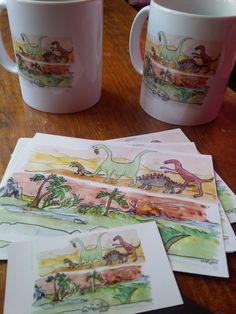 Nouvel essai d'impression : mug, cartes postales et aimant pour frigo... Tout y…
