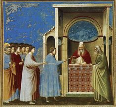 The Bringing of the Rods to the Temple - Giotto Scrovegni (Arena) Chapel, Padua, Italy Italian Painters, Italian Artist, Madonna, Noli Me Tangere, Fra Angelico, Religious Paintings, Late Middle Ages, Historical Art, Art Database