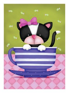 """Photo from album """"Jo Parry"""" on Yandex. Silly Cats, Cats And Kittens, Cute Animal Clipart, Cat Background, Cat Character, Cat Paws, Whimsical Art, Artist Art, Smiley"""