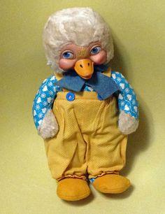 Rare Vintage Rubber Face Stuffed Gund Duck Anamorphic Character Rushton