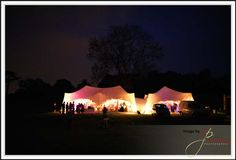 Lit up marquee at Lorton House in Dorset