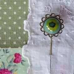 Boho Flower Brooch, Fused Glass Stick Pin, Pretty Bohemian Lapel Pin, Shawl Pin