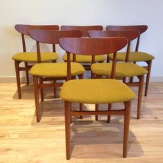Danish Modern teak dining chairs!!! Maharam chartreuse fabric www.bendmodern.com