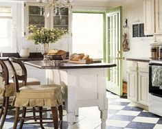 Kitchen  Vintage Kitchen Design With Black And White Cabinets Also Green Door Color Best Inspiration Vintage Kitchen Design