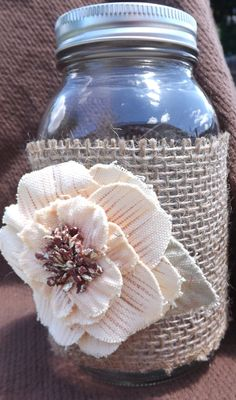 Decorating Mason Jars with Burlap   Mason Jar Burlap Decor by auniquetouch on Etsy