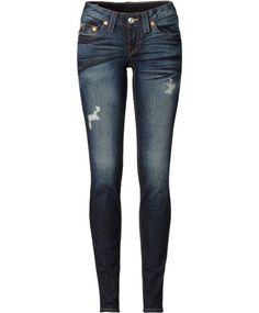 I love how these jeans look. Super Skinny Ripped Jeans, Blue Ripped Jeans, Distressed Denim Jeans, Blue Denim, True Religion Jeans, Superenge Jeans, Business Casual Attire, Pants For Women, Ladies Pants