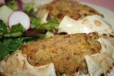 Stuffed Crab - made with fresh lump crabmeat, onion, and bell pepper, seasoned with Old Bay and Cajun seasoning and bound with egg and toasted bread crumbs and baked. *Skip or replace the bread crumbs with a gluten free option. Cajun Recipes, Seafood Recipes, Cooking Recipes, Creole Recipes, Yummy Recipes, Recipies, Seafood Meals, Seafood Gumbo, Shellfish Recipes