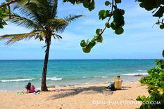 Relaxing beach scene at Ocean Park Beach, San Juan, Puerto Rico