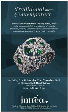 New #collection of contemporary and traditional #diamond #jewellery unveiled by #Intreajewels by Purva Kothari on 21st - 22nd November at #trident #narimanpoint
