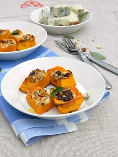 Pumpkin cubes with cheese Dor Blue and hazelnuts