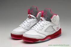 sites de lojas de tenis Mulheres 440892-101 AIR JORDAN V Branco/Vermelho/Rosa