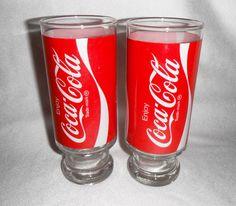 2 ENJOY COCA-COLA  ADVERTISING TUMBLERS - SODA DRINK GLASSES - BARWARE - COKE picclick.com