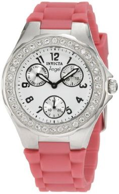 Invicta Women's 1642 Angel Crystal Accented White Dial Pink Silicone Watch Invicta. $54.95. White dial with black hands and arabic numerals; luminous; stainless steel bezel with crystal accents. Water-resistant to 30 M (99 feet). Japanese quartz movement. Day, date and 60 second silver subdials. Flame-fusion crystal; brushed and polished stainless steel case; pink textured silicone strap. Save 91%!