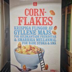 Swedish cornflakes packaging