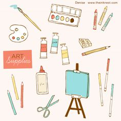 Clip Art - Art Supplies by illustrator Nisee Made (download is a free paintbox image)