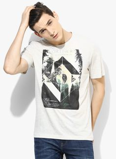 Buy Tom Tailor Off White Printed Regular Fit Round Neck T-Shirt for Men  Online bcd9bb3c4024