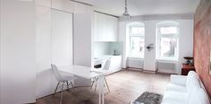 Itay Friedman Architects, renovated apartment, green renovation, Berlin, home office, small apartment, multi-functional partitions, wall storage, storage space, green interior