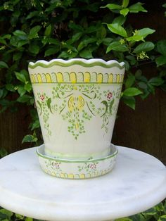 Vintage Ceramic Flower Pot Hand Painted & by FrogLevelNaturals, $12.00