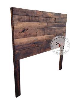 Recuperada madera cabecero Queen plataforma por SibusFurniture
