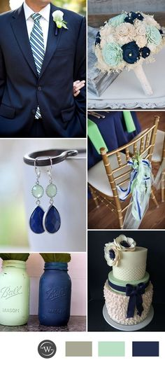 2017 wedding color ideas in navy blue and mint