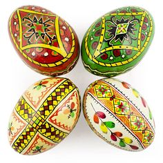 4 Large Hand Painted Wooden Easter Eggs Pysanky