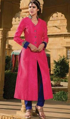 This can be worn for different day events by donning this pink color raw silk pant style suit. Ethnic lace and resham work within attire adds a sign of elegance statement with a look. #pinkcolordress #rawsilksuit #indiandress