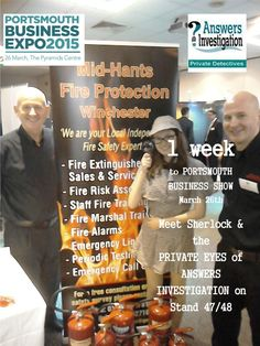 1 week to Portsmouth Business Expo #PBE15  http://www.answers.uk.com/services/portssmbus.htm  #Sherlock @PortsmouthExpo   Meet #Sherlock & the business award winning PRIVATE EYES of ANSWERS  INVESTIGATION– see if you can crack our safe to win a prize while eating our popcorn   T:02380 308274 http://www.answers.uk.com