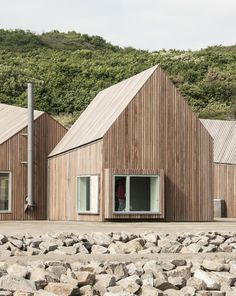 Hammerhavn - Master plan and multipurpose buildings Facade Design, Exterior Design, Masterplan, Wooden Facade, Timber Buildings, A Frame House, Exterior Cladding, Forest House, Cabins And Cottages