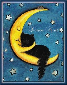Sweetest of Dreams Moon Hugging Black Cat- Fine Art Print by AmyLyn Bihrle adorables funny graciosos hermosos salvajes tatuajes animales Cool Cats, I Love Cats, Crazy Cat Lady, Crazy Cats, Image Chat, Here Kitty Kitty, Sleepy Kitty, Hello Kitty, Cat Drawing