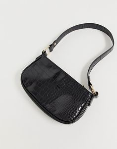 Shop ASOS DESIGN croc effect shoulder bag. With a variety of delivery, payment and return options available, shopping with ASOS is easy and secure. Shop with ASOS today. Handbags Michael Kors, Purses And Handbags, Cheap Handbags, Luxury Handbags, Popular Handbags, Aesthetic Bags, Sacs Design, Designer Shoulder Bags, Cute Purses