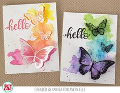 Yainea for Avery Elle Butterflies Clear Stamps Butterflies Elle-ments Die Big Greetings Clear StampsMy paper journey: Pop Up butterflies cards with Avery Elle + video!Avery Elle - lovely watercolour effect behind the butterflies Pretty butterflies in Handmade Greetings, Greeting Cards Handmade, Butterfly Cards Handmade, Cute Cards, Diy Cards, Beautiful Handmade Cards, Watercolor Cards, Watercolour Butterfly, Card Making Inspiration