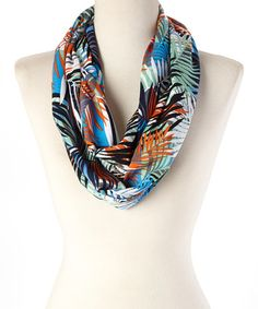 Look what I found on #zulily! Orange & Blue Leaves Infinity Scarf #zulilyfinds