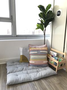 Toddler Reading Nooks, Bedroom Reading Nooks, Kids Floor Cushions, Floor Pillows, Throw Pillows, Small Toddler Rooms, Montessori Toddler Bedroom, Playroom Flooring, Small Room Bedroom