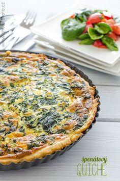 špenátový quiche Tart Recipes, Veggie Recipes, Vegetarian Recipes, Healthy Recipes, Cooking Light, Easy Cooking, Cooking Recipes, Quiche, A Food