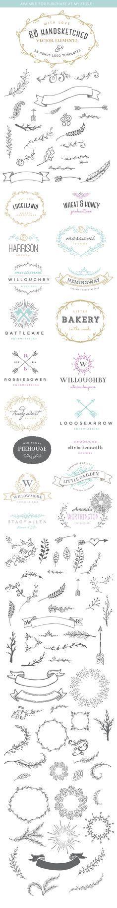 #Hochzeitspapeterie: 80 handgezeichnete Vektoren und Logo-Entwürfe für Einladungen und Co.