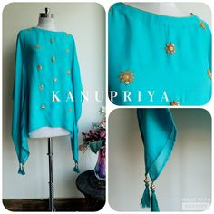 Turquoise Modal Satin Cape by Label Kanupriya | https://www.labelkanupriya.com/collections/capes/products/turquoise-modal-satin-cape | WhatsApp 9694496961