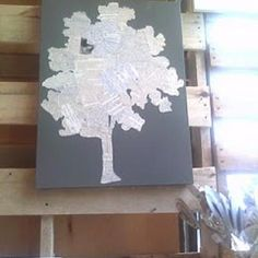 DIY wall art:  Tree from book pages