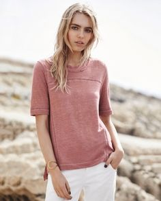 Sacha T-shirt - Wrap London - In our favourite linen jersey this semi-fitted top has pretty ladder-stitch details and a fringed trim at the scoop neckline. The sleeves are designed to finish just above the elbow. 100% Linen.