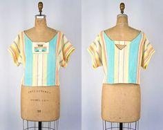 VINTAGE 1970s striped Guatemalan pastel crop top | Summer festival blouse | Ethnic woven cotton top