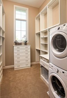 Walk-in Closet with Laundry Room. Laundry room in walk-in closet. #WalkinCloset #laundryroom Pillar Homes.
