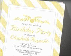 Yellow Stripes Birthday Party Invitation